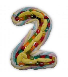 Le chiffre Deux en composition de bonbons