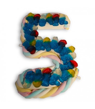 Le chiffre 5 en bonbons