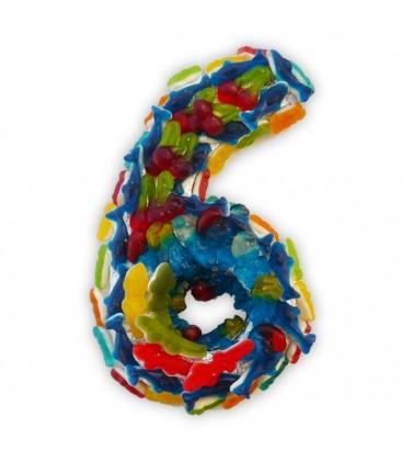 Le chiffre six en composition de bonbons