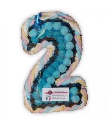 Le chiffre Deux en composition de bonbons-bleu pour un garçon